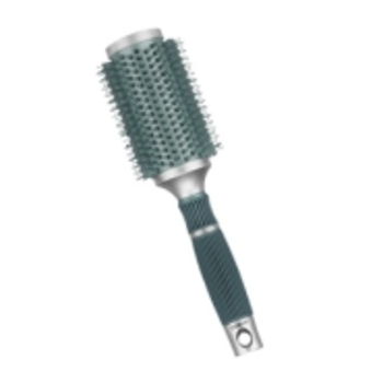 An ionic round brush reduces static and helps make hair shinier