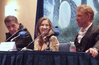 Voice actors L to R Craig Ferguson, Kelly MacDonald and Kevin McKidd at the interview