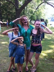 """Emma and movie """"family"""" on mustache day"""