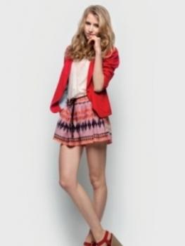 Girly ruffles, fun prints and a tailored blazer create a fabulously girly fall look