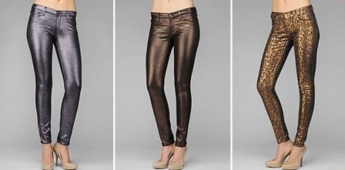 Metallic threads woven into cotton jeans