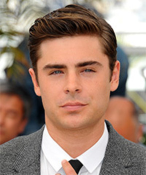 Zac Effron with a firm hold hairstyle using firm gel or pomade