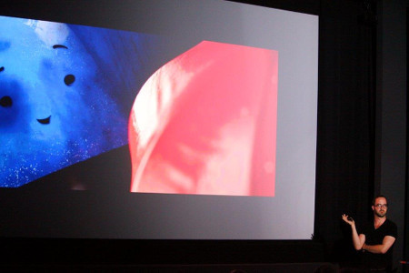 Blue Umbrella creator Saschka Unseld with an early frame from the short film