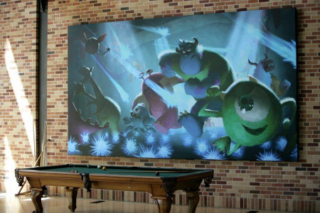 Monsters U artwork and a Pixar pool table