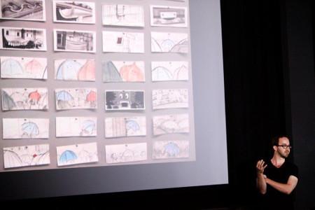 Blue Umbrella creator Saschka Unseld with a storyboard