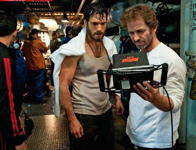 Henry and director Zack Snyder watch a playback