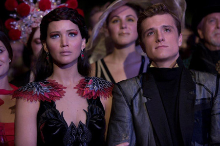 An unhappy Katniss and Peeta in the Capitol