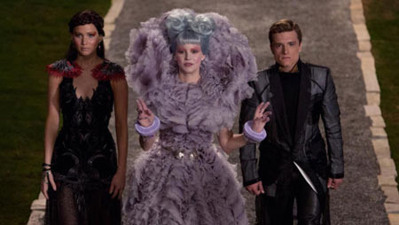 Effie presents Katniss and Peeta in the Capitol