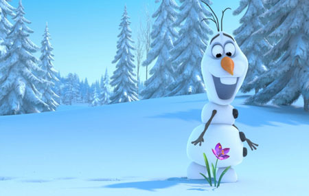 Snowman Olaf discovers spring flower