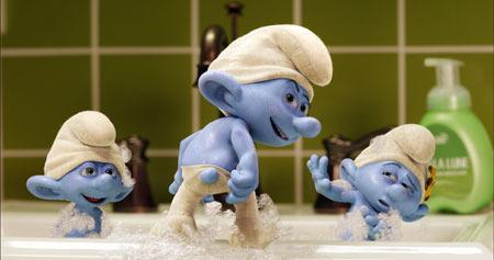 The Smurfs having a bath
