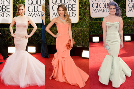 Seashell-colored mermaid tails. It can't be easy to walk or sit down wearing these gowns.