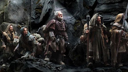 The dwarves enter their old kingdom in the mountain