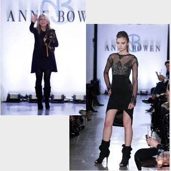 Anne Bowen on the Fall 2012 runway with her creation (and her dog)