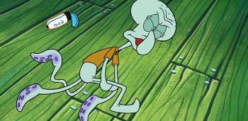 Squidward isn't a karate natural