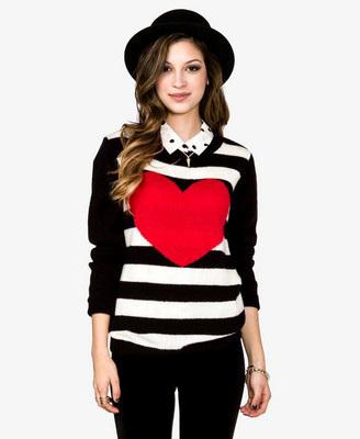 Heart stripe sweater, $18.75