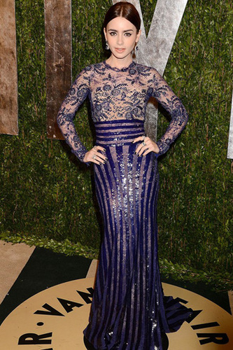 Lily Collins is true blue lace and sequins
