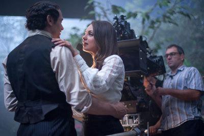 Mila with James Franco on set