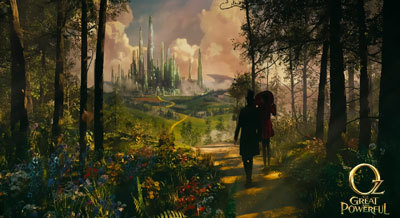 Oscar (later Wiz) and Theodora walk to Emerald City
