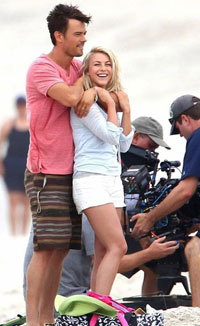 Josh and Julianne on set