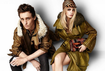 Eddie modelling for Burberry with Cara Delavigne
