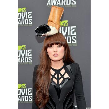 Hana Mae Lee in a strange cigarette butt hat. Hmmm
