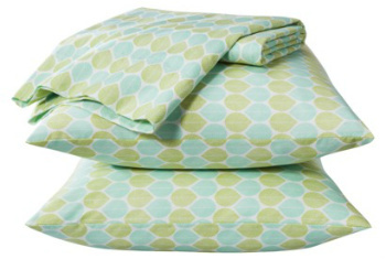 Room Essentials Easy Care Sheet Set in Mint Leaf. Target, $15.99