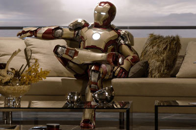 Iron Man kicks back at home