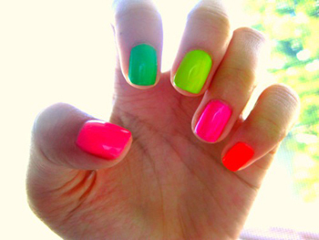 Add some fashion edge with neon nails!