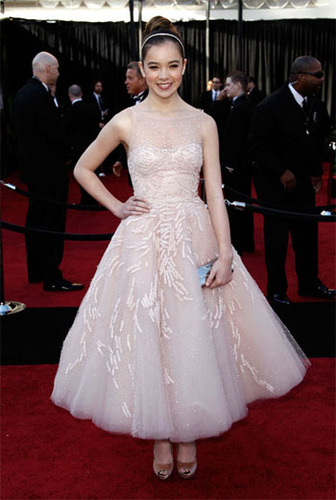 Hailee Steinfeld is pretty in pink in a classic prom style dress