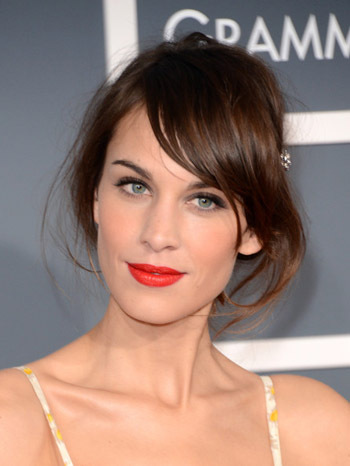 Alexa Chung's striking red lips
