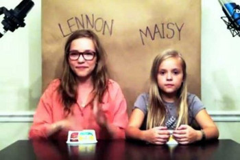 Lennon and Maisy used empty plastic containers as percussion instruments