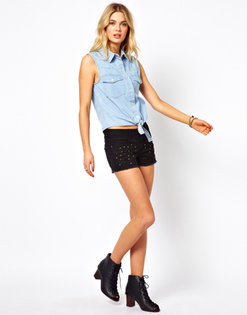 Asos black studded shorts, $55