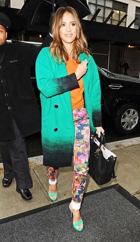 Jessica Alba is a huge fan of bold printed pants