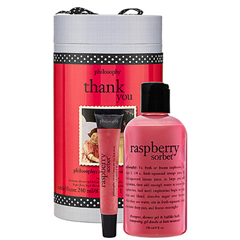 Show your appreciation for mom with Philosophy's Raspberry Sorbet shower gel and lipgloss, $20