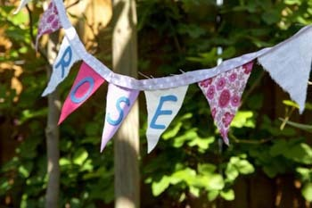 Cut out letter to spell out your name to personalize your bunting