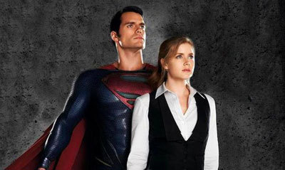 Superman (Henry) and Lois (Amy) in heroic pose