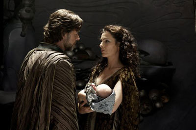 Zod and wife Lara with baby Kal-El