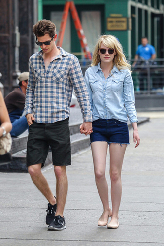 Emma Stone does casual double denim with style