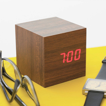 LED wooden alarm clock, $40