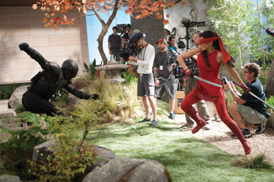 On set Ninja fight in the Dojo