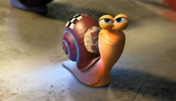 After a zap from a hot rod Turbo becomes a speedy snail