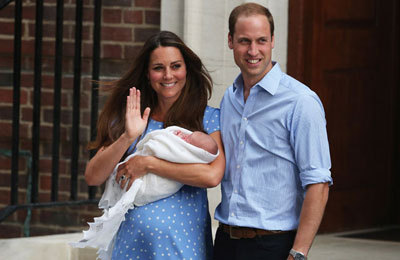 Kate and William leaving the hospital with their son, George