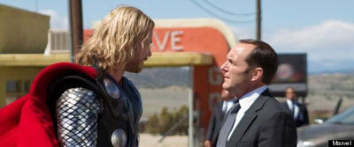Clark as Coulson with Thor