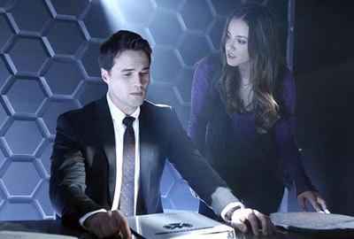 Brett as Ward in S.H.I.E.L.D. HQ with Skye (Chloe)