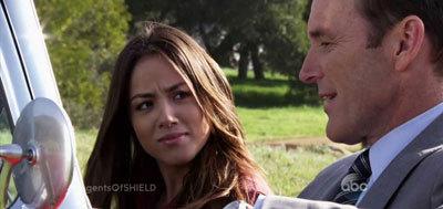 Chloe as Skye with Gregg as Coulson