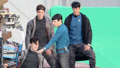 Zach, Benedict and their stunt doubles on set