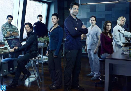Kyra and Billy Campbell with rest of Helix cast