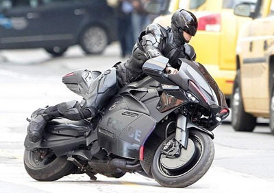 Robocop on his cool Batman-style cycle