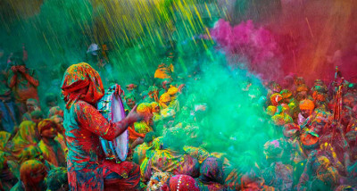During Holi people throw paint at each other in the streets!