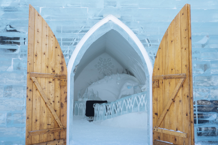 The entrance to the Frozen room at the Hotel de Glace